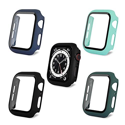 AOTUAO Funda Compatible con Apple Watch Serie 6 SE 5 4 44mm, Estuche Rígido Delgado PC Protector de Pantalla Cristal Templado para iWatch, 4 Piezas Negro Midnight Blue Official Green Mint Green