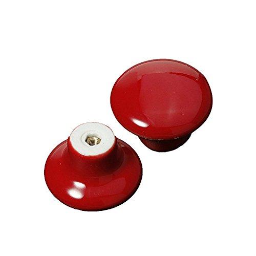 FBSHOP(TM) 2x Neu 39.5mm Rot Keramik Porzellan Knöpfe Möbelgriffe Möbelknauf MöbelKnopf für Schränke, Schubladen, Truhen, Schränke, Küche, Schlafzimmer, Badezimmer