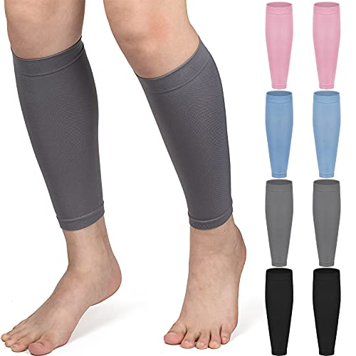 4 Pairs Calf Compression Sleeves Leg Compression Socks Calf Support Sleeves for Men and Women Running Cycling Climbing, Black, Gray, Pink and Blue
