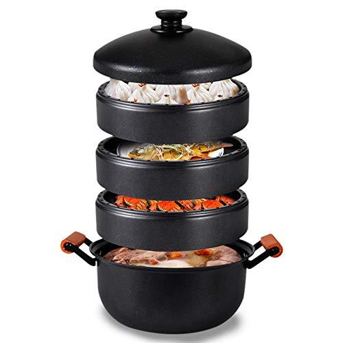 Gietijzeren wok grapenen Imperial Pot 4 lagen gietijzer bio-voedselstoompan 4 gerechten een soep energiebesparend 30 cm.
