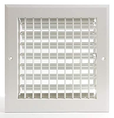 """6""""w X 6""""h Adjustable AIR Supply Diffuser - HVAC Vent Cover Sidewall or Ceiling - Grille Register - High Airflow - [Outer Dimensions: 7.75""""w X 7.75""""h]"""