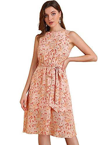 Allegra K Women's Summer Sleeveless A-Line Elastic Waist Belted Floral Chiffon Dress X-Small Coral Pink