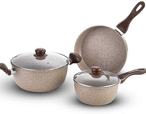 CHUNJIAO Kupfer Töpfe und Pfannen Set Aluminium Non-Stick 3 Stück Kochtopf-Set, Koch-Tops, sicher for die Herdplatte Backofen Broiler und Geschirrspüler optimale Wahl for die tägliche Kochen Kochgesch