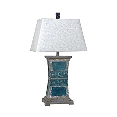 Beach House Blue Sea Finish Resin Table Lamp 32Inches Tall