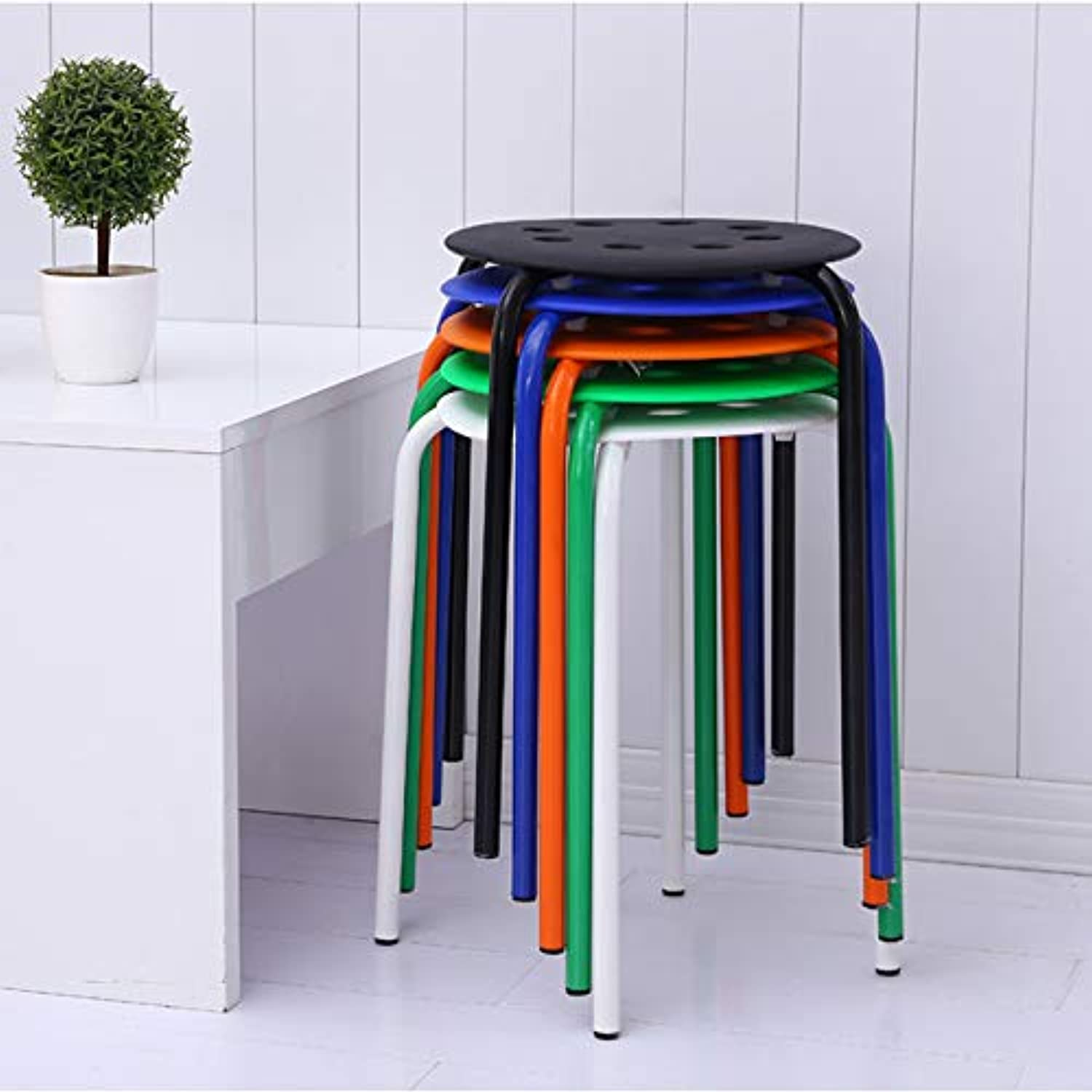 Dining Stool Stool Chair Casual Simple Plastic Stool Board Stool (color   White)