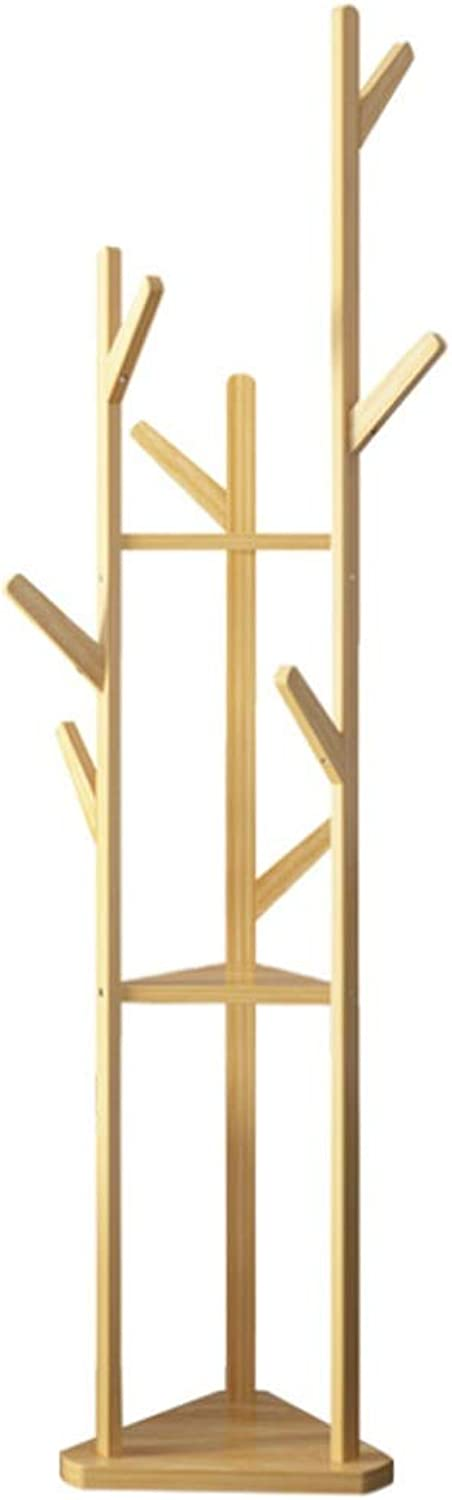 Coat rack hanger Standing bamboo coat rack floor rack European style bedroom branches hanging clothes rack with 3 Tiers 9 Hooks for Clothes Scarves and Hats 175CM(H)