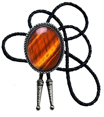 Moranse Bolo Tie with Natural Tiger Eye Stone Celtic Style Genuine and Cowhide Rope (Tiger eyes 3 style)