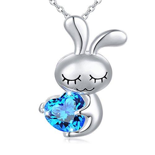 DAOCHONG S925 Sterling Silber Frauen Schöne Süße Herz Kaninchen Anhänger Halskette Hase mit Blauen Liebe Herz, Kette 18 '
