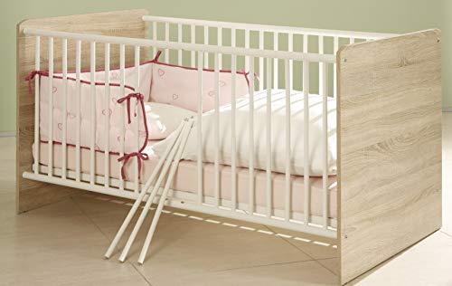 Babybett Eiche Kinderbett Sprossenbett für Babys Eiche Sonoma Weiss - (3446)
