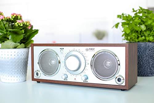 TZS First Austria Retro Radio, Küchenradio, Analog-Radio für Senioren, integrierter Lautsprecher, Aux-Anschluss für MP3-Player & Smartphone, in Holz/Silber, 230 V