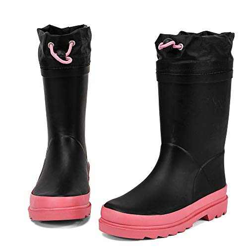 ALEADER Kids Waterproof Rubber Rain Boots for Girls, Boys & Toddlers with Fun Prints & Handles Black Pink 5 M US Big Kid