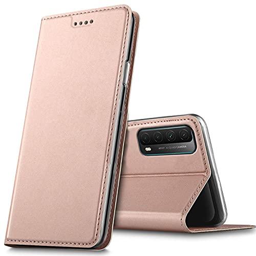 Verco Handyhülle für Huawei P Smart 2021, Premium Handy Flip Cover für P Smart 2021 Hülle [integr. Magnet] Book Hülle PU Leder Tasche, Rosegold