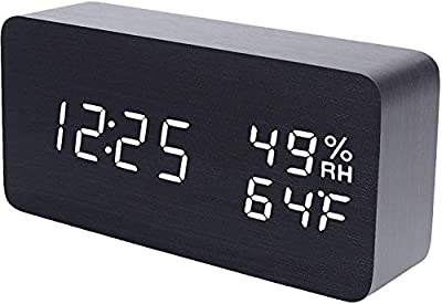 F.G. MINGSHA Alarm Clock Wooden Digital Clock Modern Decorative Electronic LED Desk Clock Display Time Date Temperature Humidity 3 Alarms Brightness Adjustable for Home Office Bedroom(Black)