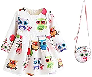 Owl Jacquard cotton kids dress with bag for girls