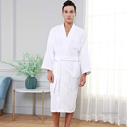 YRTHOR Albornoz de Toalla de Kimono de algodón para Hotel de 5 Estrellas, Bata de baño de Talla Grande para Hombre, Batas de Felpa para el Sudor, Bata Larga para Mujer, Ropa de dor,Hombres Blancos,L
