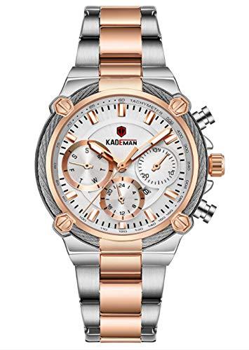 MLHXHX Reloj de señoras Temperamento Mujer Reloj Calendario Falso de tres Agujas Cinturón de Acero Impermeable Reloj de Oro Rosa