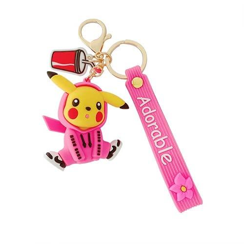 Cartoon Pokémon Pull-over Pikachu porte-clés mignon Pokémon porte-clés pendentif sac (rose sweat Pikachu)