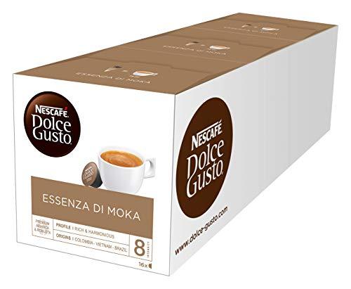 NESCAFÉ Dolce Gusto Essenza di Moka | 48 Kaffeekapseln | 100% edle Robusta Bohnen | Aromatischer Schwarzkaffee | Intensiv und belebend | Aromaversiegelte Kapseln | 3er Pack (3 x 16 Kapseln)