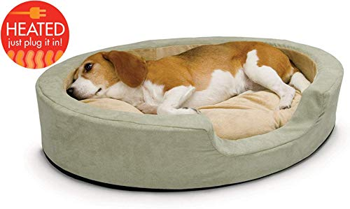 """K&H PET PRODUCTS 1923 Thermo-Snuggly Sleeper Heated Pet Bed Large Sage 31"""" x 24"""" 6W"""