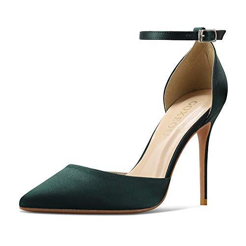 GOXEOU Zapatos de corte de mujer con correa al tobillo de raso puntiagudo, tacón de aguja sexy D'Orsay, vestido de fiesta, boda, zapatos de tacón, color Verde, talla 35.5 EU