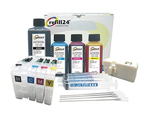 Kit de Recarga para Cartuchos Recargables para Brother LC3233, LC3235 Negro y Color. Incluye reseteador y Accesorios + 550 ML de Tinta