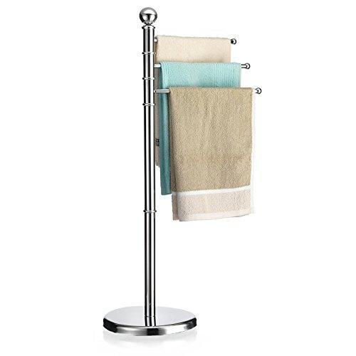 CARO-Möbel Handtuchhalter Petra Handtuchständer Badetuchständer mit 3 beweglichen Handtuchstangen, Metallgestell verchromt
