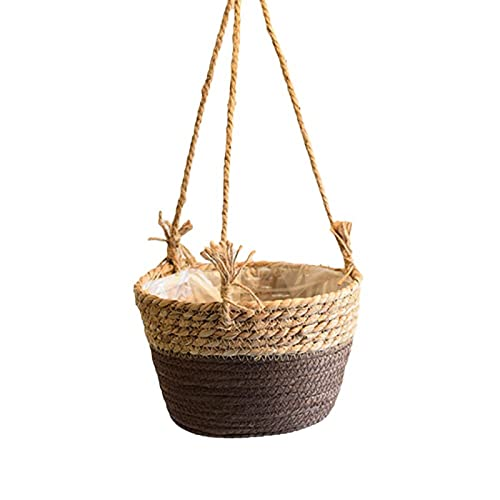 Cesta colgante de mimbre para almacenamiento, cesta de mimbre para colgar en la pared, cesta de mimbre para jardín, sala de estar, dormitorio, cocina, tres correas, marrón