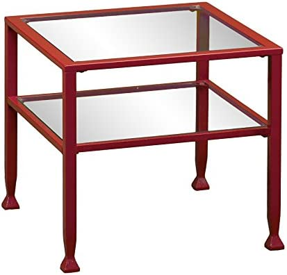Best Southern Enterprises Glass Bunching Cocktail Table, Red Finish
