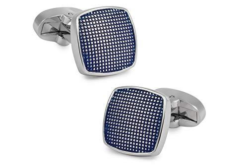 Gemelolandia   Gemelos de Camisa Square Dots Plated Blue 16mm Gemelos Originales...