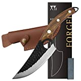 XYJ FULL TANG 6 Inch Stainless Steel Boning Knife Chef Fishing Knives Carry Leather Sheath Meat Cleaver Outdoor Cooking Cutter Butcher Knife For Camping Kitchen or Outdoor BBQ