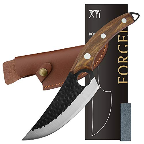 XYJ Stainless Steel Boning Knife 6 Inch Chef Fishing Knives Carry Leather Sheath Meat Cleaver Outdoor Cooking Cutter Butcher Knife For Kitchen Camping or BBQ