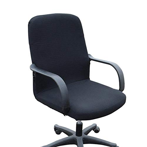 BANGSUN Funda para silla de oficina de Spandex extraíble protector asiento negro rayas pequeño