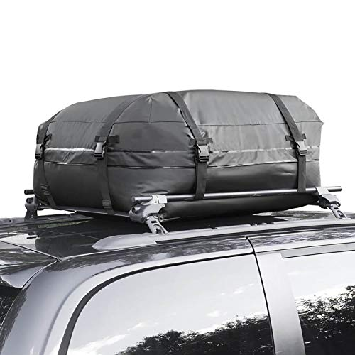Aaaspark Rooftop Cargo Carrier Bag - Waterproof & Coated Zippers 15 Cubic ft - for Cars and SUV Or Truck with or Without Racks(Black)