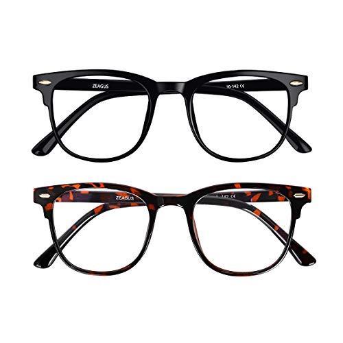 Blue Light Blocking Glasses,2 Pack ZEAGUS Reading/Gaming/TV/Phones/Computer Square Glasses for Women Men,Anti-Eyestrain & UV Glare(Tortoise&Black)