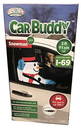 Gemmy 3' Tall Christmas Airblown Inflatable Snowman Ride-Along Car Buddy Indoor/Outdoor Holiday Decoration