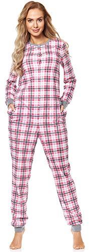 Merry Style Damen Schlafanzug Strampelanzug Schlafoverall MS10-187 (Rosa Kariert, M)