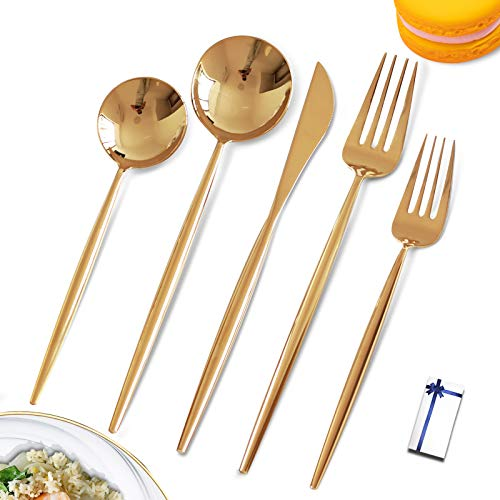 Gold Silverware Set Gold Cutlery Set 1810 Stainless Steel Gold Utensils Set Gold Mirror Flatware set for 4Tableware Spoons and Forks Silverware for Home Restaurant and WeddingGift Box With Ribbon