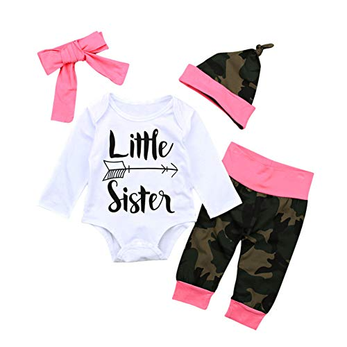Neugeborenes Säugling Baby Mädchen Jungen Kleidung Little Sister Gedruckt Strampler Bodysuit Hose Stirnband Outfits Set Gr. 6-12 Monate, Weiß-Camouflage