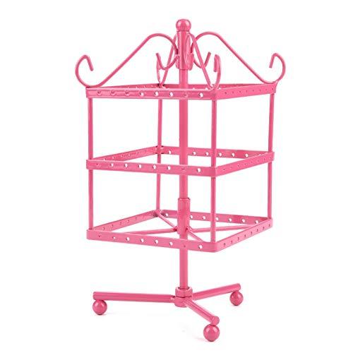 FikaLife Pendiente giratorio de 3 capas de mesa giratoria de 96 agujeros pendiente de almacenamiento Estante de exhibición de la joyería (rosa)
