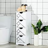 DICTAC Badkommode mit 4 Schubladen, Schubladenschrank mit Kippsicherung, Aufbewahrungsschrank Badschrank Badezimmerschrank Wohnzimmer, Schlafzimmer, Flur