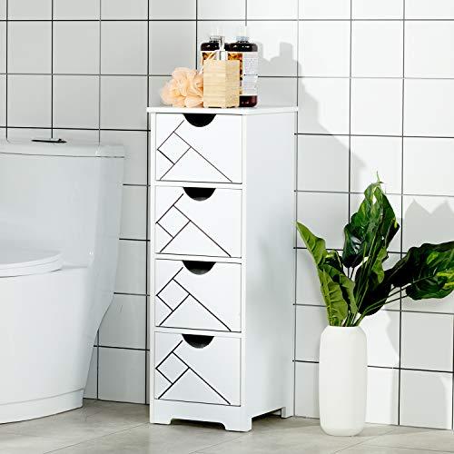 DICTAC Badschrank Schmal Badkommode Badzimmerschrank Weiss (Badezimmerschrank 4 Schubladen)