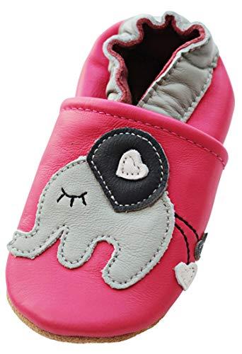 ENGEL + PIRATEN Krabbelschuhe MARKENQUALITÄT AUS Deutschland- VIELE Modelle bis 4 Jahre Babyschuhe Leder Lauflernschuhe Lederpuschen Krabbelschuhe (18-24(Gr.22/23), Elefant Pink)