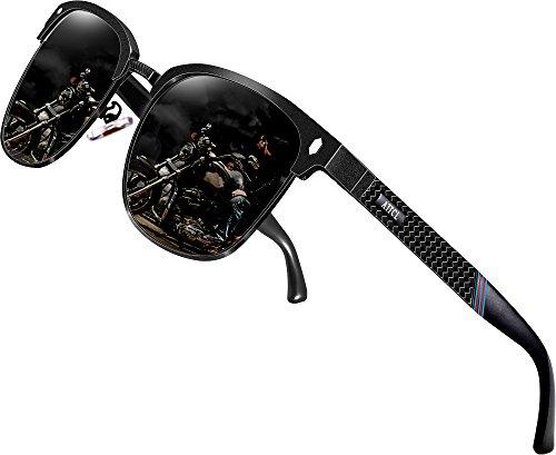 ATTCL Herren Polarisierte Sonnenbrille Al-Mg Ultra Light Metall Rahmen 8-188 Black