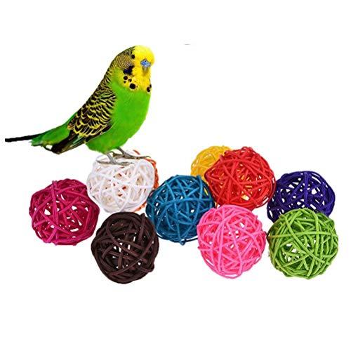 10 bolas de ratán, juguete para pájaros como loros, pericos, periquitos, agapornis, cacatúas, cotorras, pinzones, guacamayos, cacatúa africana gris, color al azar - 2.5cm