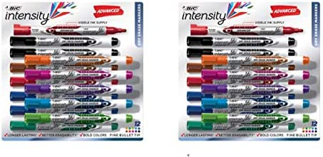 BIC Intensity Advanced Dry Erase Marker, Fine Bullet Tip, Assorted Colors, 12-Count