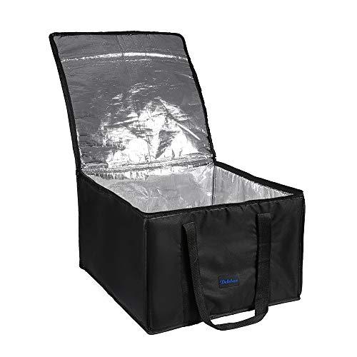 DELEBAO Sac Isotherme Extra Large Sac Repas Lunch Bag Sac à Déjeuner Sac à Congélation Isolé Sac de Panier Pliable Cabas de Courses Noir pour Pizza 19 inch