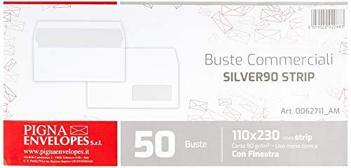 Pigna SILVER90 Strip Buste Commerciali con finestra, Bianco, Confezione 50 buste, 110 x 230 mm