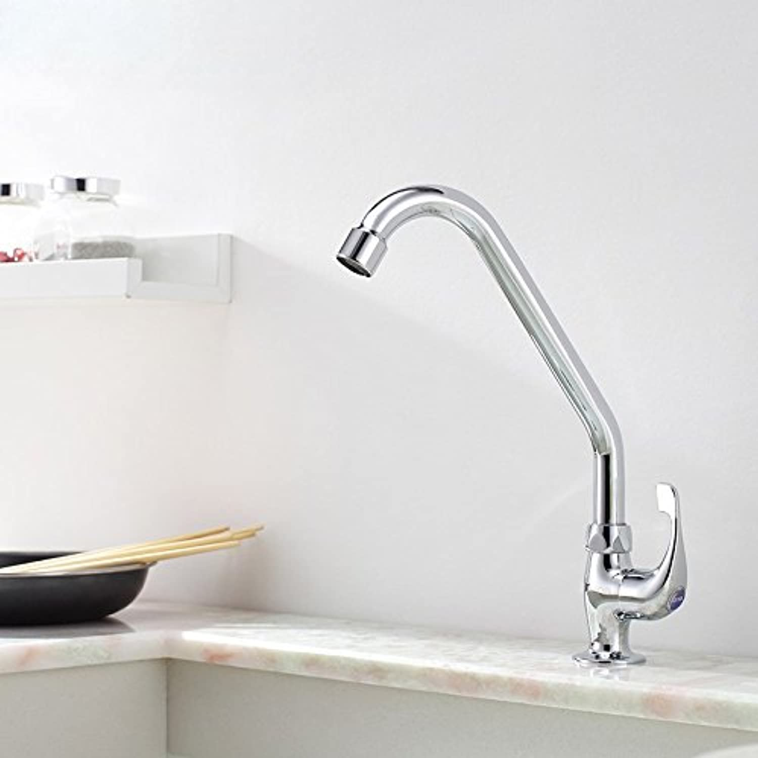 Commercial Single Lever Pull Down Kitchen Sink Faucet Brass Constructed Polished Single Cold Kitchen Faucet, Copper Single Handle Single Hole Sinking Sink Double Sink Bathroom Faucet