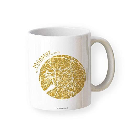 Tasse Münster - Bürotasse Kaffeebecher farbige Stadtkarte Städtetasse - Personalisierte Geschenkidee für Kollegen Kollegin Architekt Richtfest Fernweh Heimweh