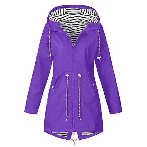 BAOFUBA Women's Jacket Rain Jacket Rain Coat Wind Jacket,Damen Hoodie Jacke, Übergangsjacke-Freizeitjacken Thermo Reißverschluss Kapuze Warmer Mantel Windbreaker Transition Jacket